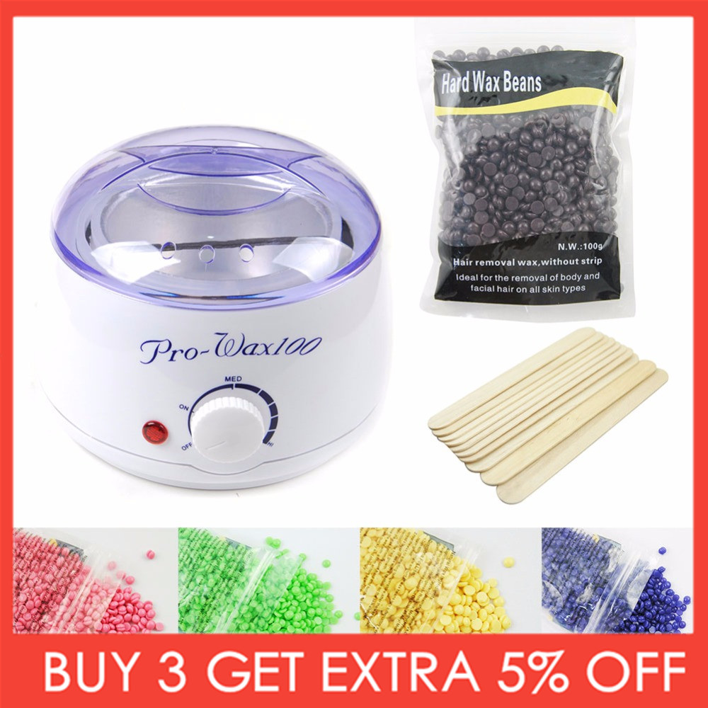 Hair Removal Tool Professional Warmer Wax Heater Mini SPA Hand Epilator Feet Paraffin Wax With Beans 10pcs Sticks Wax Kit