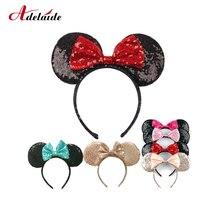 Headwear Minnie Mouse Ears Headband Festival DIY Hair Accessories Hairband Christmas Sequin Hair Bows for girls women gift