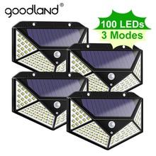 Goodland 100 светодиодный светильник на солнечной батарее, уличный солнечный светильник с питанием от солнца, водонепроницаемый светильник с датчиком движения PIR, уличный светильник для украшения сада