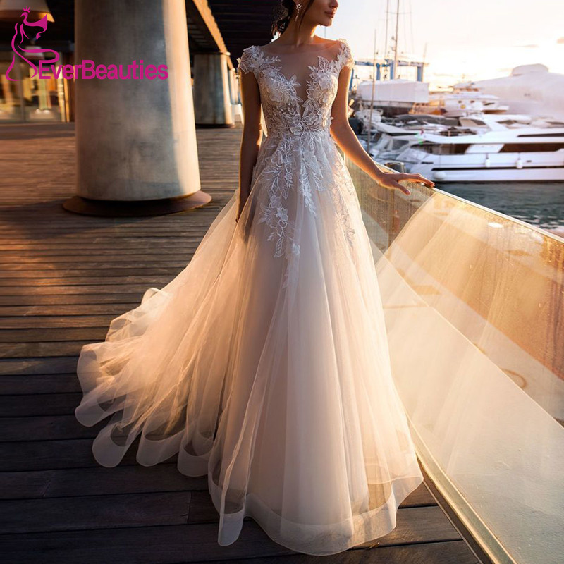 Beach Wedding Dress 2019 Illusion Neckline Cap Sleeves A-Line Appliques Lace Tulle Light Champagne Wedding Gowns Bride Dress