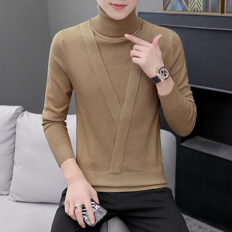 The 2019 New Sweater Men's Turtle Neck Slim Autumn And Winter Warm Bottoming Sweater Knit Men Sweater Men Turtleneck K Sweater