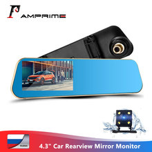 AMPrime Car DVR Rear View Mirror Dual Lens DVRs Registrator 4.3 Inch Car Camera Night Vision Dashcam Camcorder Video Recorder