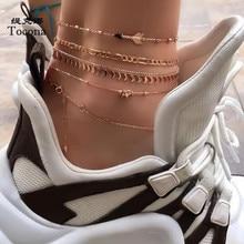 Tocona Charms 5pcs/sets Foot Chain Moon Elephant Arrow Barefoot Feet Bracelets Fashion Jewelry Womens Accessories 8634