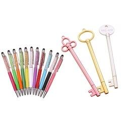 8PCS Random Colorful Crystal Pen Diamond Ballpoint Pens Fashion Creative & 10PCs Gel Pen Set Key Creative School Office Supplies