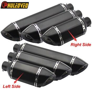 PHULEOVEO Black Left/Right Motorcycle Muffler Exhaust ID:51mm/61mm L:570mm/470mm/370mm Motorbike Exhaust Muffler Escape Baffle