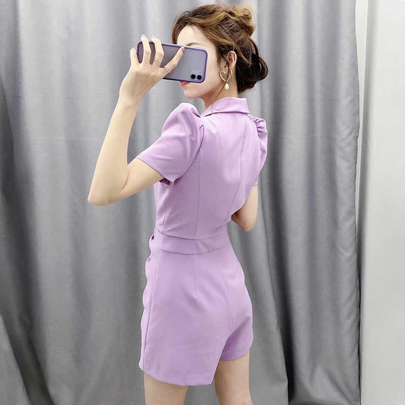 Elegante sólido Blazer-estilo mono mujer Puff manga corta pajarita Chic Romper con cinturón cuello pico ropa de oficina mono verano
