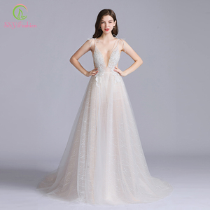 Image 5 - SSYFashion New Sexy Long Evening Dress Deep V neck Sleeveless Backless Lace Flower Beach Prom Formal Gown Vestido De Fiesta
