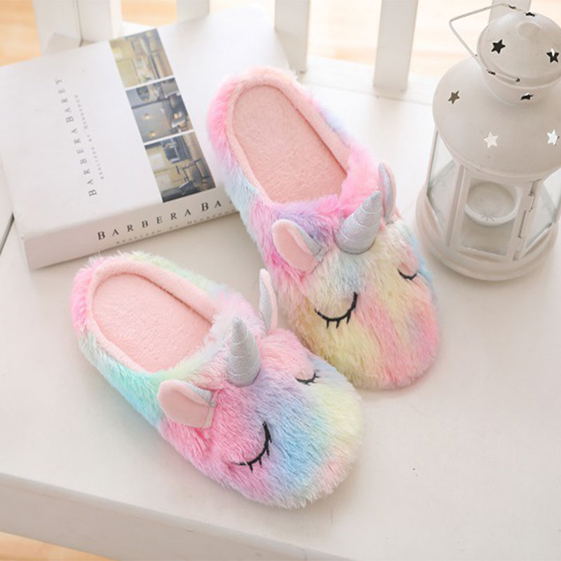 Unicorn Slippers Women Indoor Shoes Cartoon Home Slippers Plush Warm Winter Shoes Woman Slip On Soft Animal Female Slides New DE