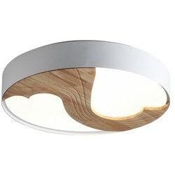 Nordic mistrzem sypialnia salon nowoczesne proste Home kreatywny z litego drewna dla dzieci pokój lampy Ultra cienki LED okrągła lampa sufitowa