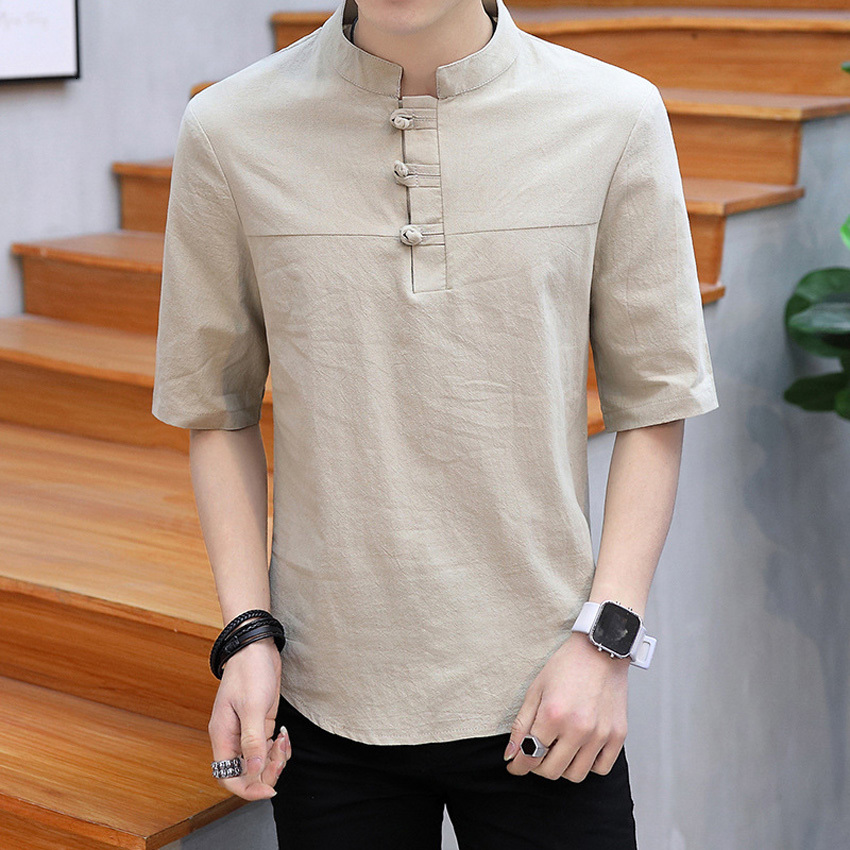 Short Sleeve Harajuku T-shirt For Shanghai Men Clothing Chinese Traditional Cotton Linen Breathable Summer Outfits Tang Suit