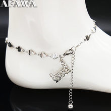 2019 Fashion Family Dad Mum and Two Gril Stainless Steel Foot Bracelets for Women Silver Color Anklet Jewelry joyeria A612355B(China)