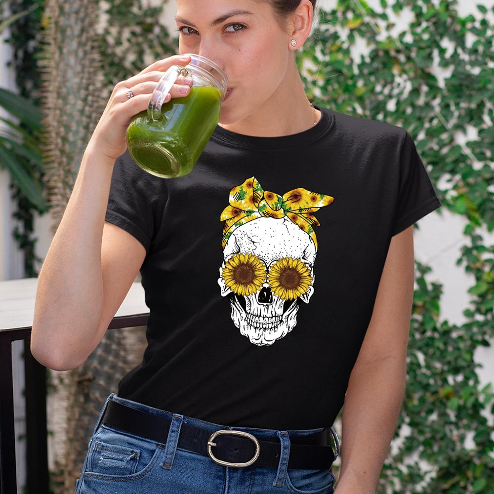 Hillbilly Funny Skull Punk T Shirt Women Fashion Casual Short Sleeve Sun Flowers Tshirts Chemise Femme Tops Mujer Verano 2020(China)