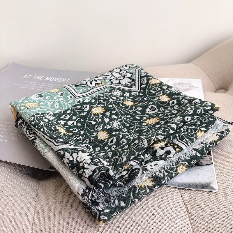 Scarf Women Cotton Luxury Brand Autumn Winter Warm Flowers Yellow Four Seasons Shawls And Wraps Warm Scarves For Lady