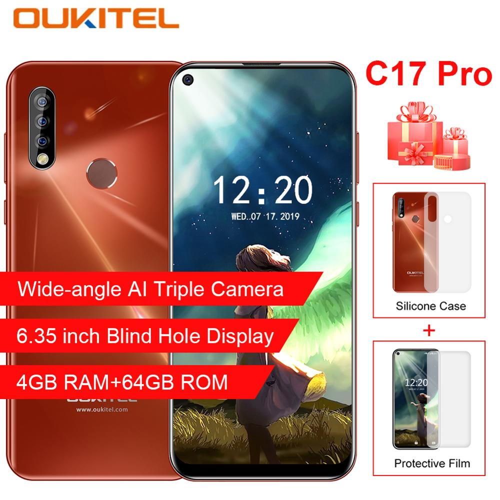 "Oukitel C17 Pro 6.35"" Android 9.0 Triple Cameras 4GB RAM 64GB ROM3900mAh Battery Mobile Phone 13MP Fingerprint 4G LTE Smartphone"