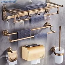 Colgador de toallas de baño de montaje en pared, accesorios dorados Vintage para baño, caja de papel de aluminio con espacio, juego de herramientas y soporte de jabón de lujo