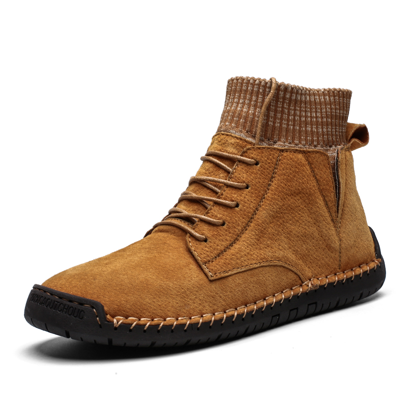 Winter Men Shoes Exclusive Design Socks Shoes Quality Leather Casual Shoes Men Warm Work Shoes Boosts Kanye West Big Size 48