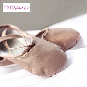 Image 5 - Gloednieuwe Lederen Ballet Dans Schoenen Professionele Zachte Vrouwen Split Zool Roze Zwart Groothandel