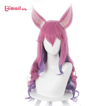 L-email wig LOL Spirit Blossom Ahri Cosplay Wig Game Cosplay Long Mixed Color Loose Wave Wig Heat Resistant Synthetic Hair l email wig game character lol k da kaisa cosplay wigs 80cm long purple kda heat resistant synthetic hair perucas cosplay wig