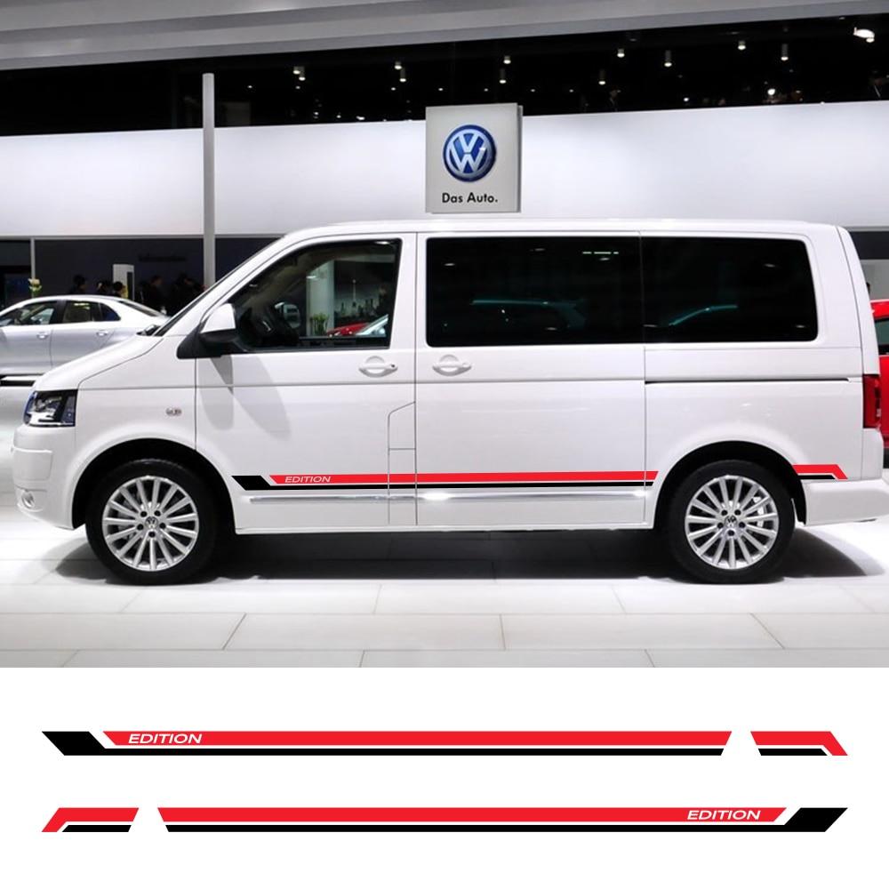2 uds. Pegatinas de faldón lateral para puerta de coche para Volkswagen Multivan T5 T6 Auto vinilo película calcomanías estilo de automóvil Personalización de automóviles Accesorios