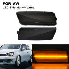 2PCS Amber Smoked LED Side Marker Turn Signal Light Lamp For VW GTI 2.0T 2010-2014 Side Marker Lamp Car Accessories 2010 2016 side mirror lamp for dodge caravan town country turn signal lamp for chrysler grand voyager marker lamps for ram c v