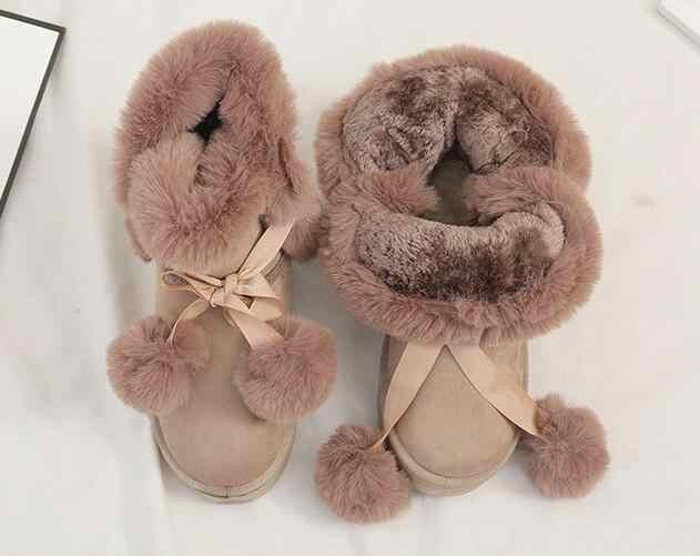 Зимние ботинки женская обувь женские Ботинки Ботильоны 2019 г. Зимние новые модные короткие плюшевые теплые Нескользящие повседневные ботинки на плоской подошве