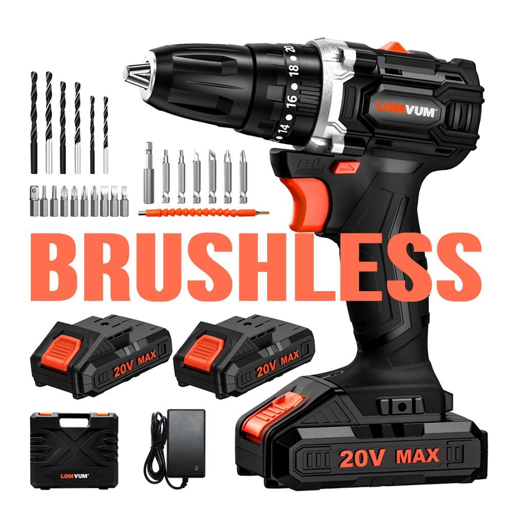 LOMVUM BRUSHLESS 20V Max DC Battery Cordless Electric Impact Drill 38 NM High Torque EU PLUG Screwdriver Parts 24 PCS Drill Bits