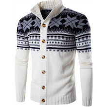 Coat Sweater Cardigan Matching Ethnic-Style Men's New Winter Thick-Line And Color Autumn