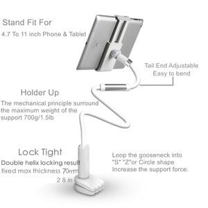 Image 3 - Настольный телефон, подставка для планшета 130 см, держатель для планшета, регулируемое крепление для планшета 4,0 10,6 дюймов, кровать для планшета, ПК, подставка, металлическая поддержка