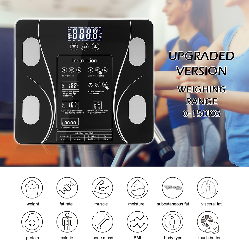 Body Fat Bathroom Scale Floor Scientific Smart Electronic LED Digital Weight Household weighing balance connect Composition title=