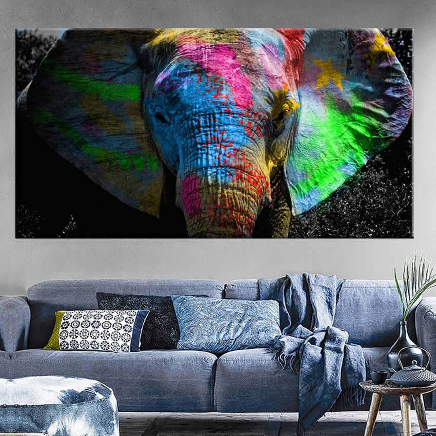 אפריקה פיל בעלי החיים נוף שמן ציור על בד פופ אמנות פוסטר ולהדפיס מופשט אמנות קיר תמונה לסלון דקור