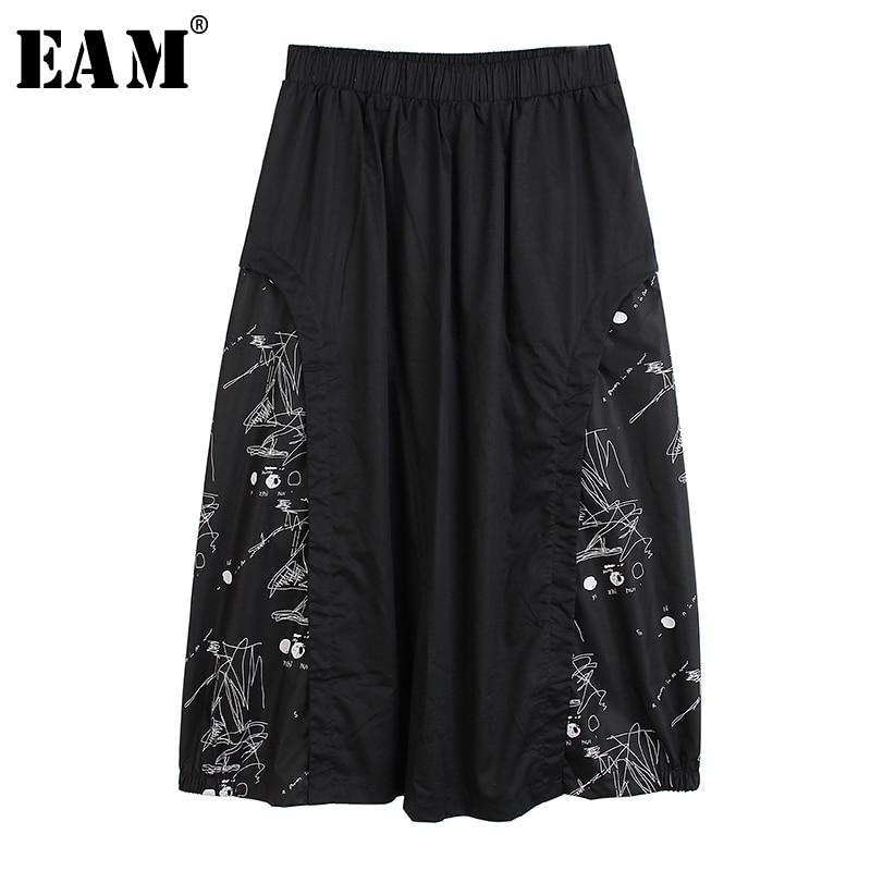 [EAM] High Elastic Waist Black Pattern Printed Split Temperament Half-body Skirt Women Fashion Tide New Spring Autumn 2020 1S587