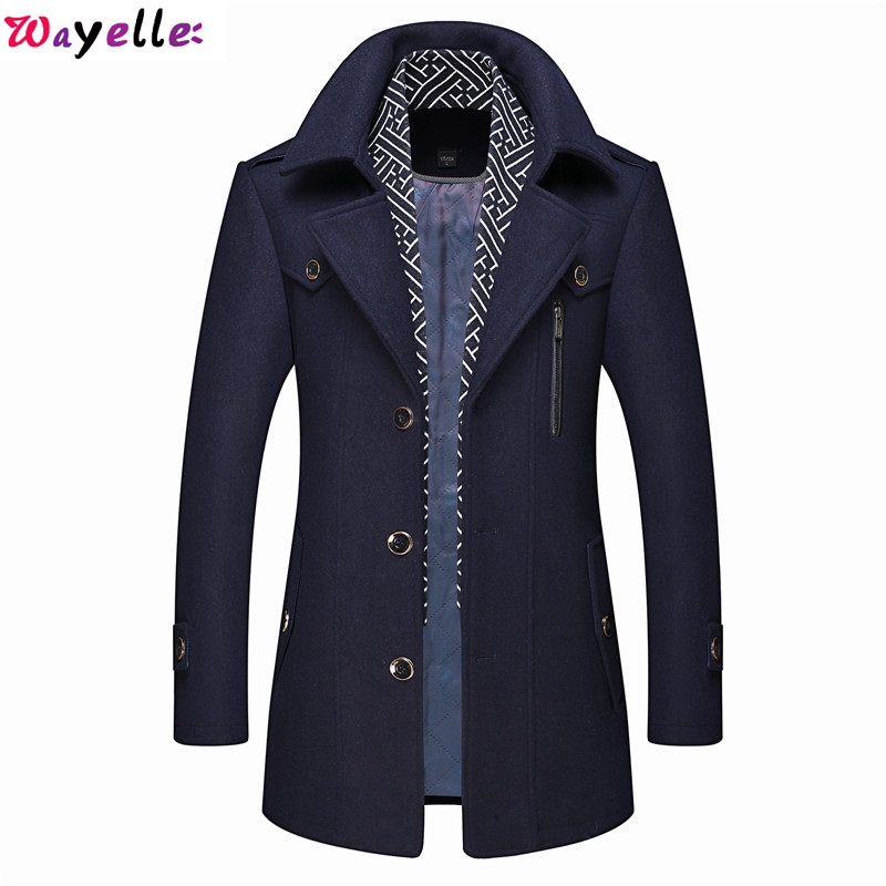 Wayelle Leather Jacket with Fur Mens Wool Coat Autumn and Winter Business Casual Thicked Trench Jackets Gentleman style