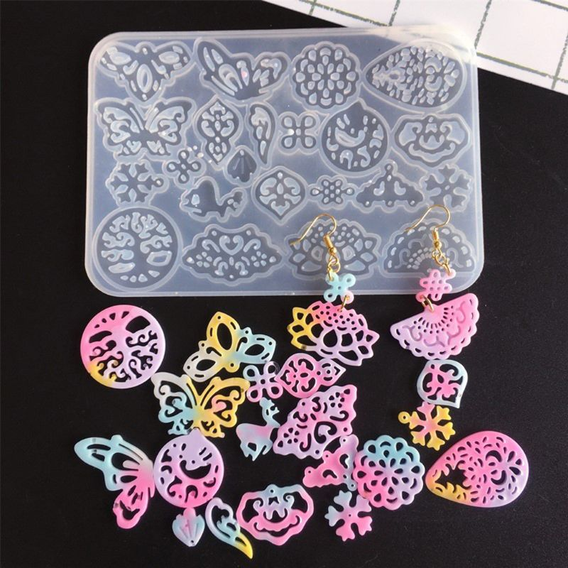 2Pcs Ancient Hollow Flower Molds Earrings Hairpin Necklace Fan Pendants Jewelry Resin Molds Jewelry Making Tools Kit