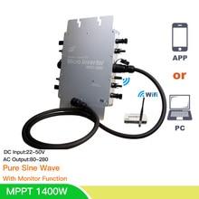 цена на 1400W MPPT Micro Solar Inversor On Grid Tie Home Inverter Pure Sine Wave 24/36/48VDC 110/220V 50/60HZ For 4*350W Solar Panel