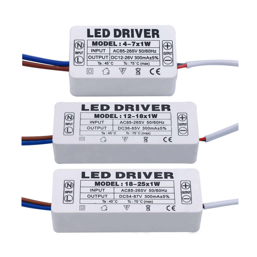 LED Conducteur 300mA 1-3W 3-5W 4-7W 8-12W 12-18W 18-25W 25-36W alimentation LED Unité D'alimentation 350mA AC90-265V Transformateurs D'éclairage Pour LED s