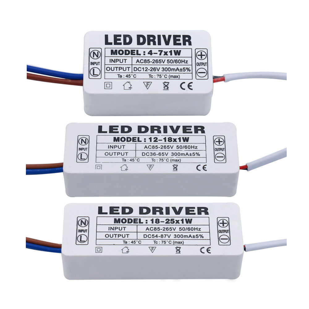 LED Driver 300mA 1-3W 3-5W 4-7W 8-12W 12-18W 18-25W 25-36W LED Power Supply Unit 350mA AC90-265V Lighting Transformers For LEDs image