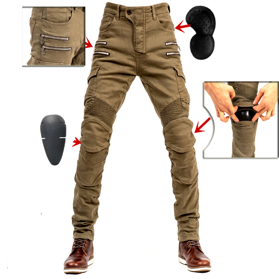 2019 New Khaki Motorcycle Pants Black Men Moto Jeans Zipper Protective Gear Blue Motorbike Trousers Motocross Pants Moto Pant