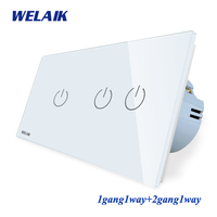 WELAIK Brand Manufacturer 2Frame Crystal Glass Panel Wall Switch EU Touch Switch Light Switch 1gang1way AC110~250V A291121CW/B