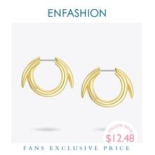 ENFASHION صغيرة دائرة هوب أقراط للنساء الذهب اللون الحد الأدنى بيان الأطواق الخواتم مجوهرات الأزياء Brincos EC191069
