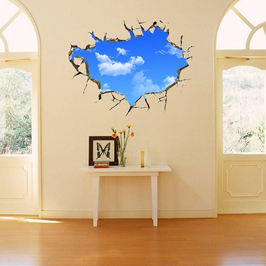 Blue Sky Cloud Brick Crack 20D Ceiling Home Office Decor Sticker Decal Wall  Art H