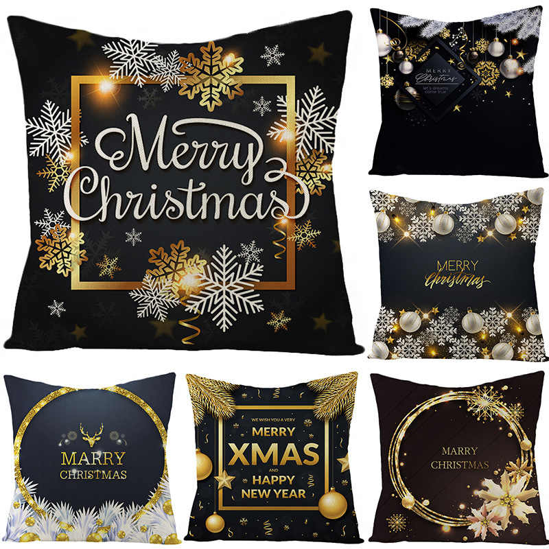Оптовая продажа Рождественская тематическая льняная наволочка черная серия Новогодние рождественские украшения для дома наволочка Navidad Natal