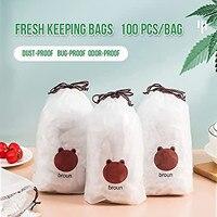 100pc Universal Frische Lagerung Taschen, stretch Kunststoff Lebensmittel Covers Für Mahlzeit Reusable Plastic Taschen Lebensmittel Lagerung Einstellbar Schüssel Deckel