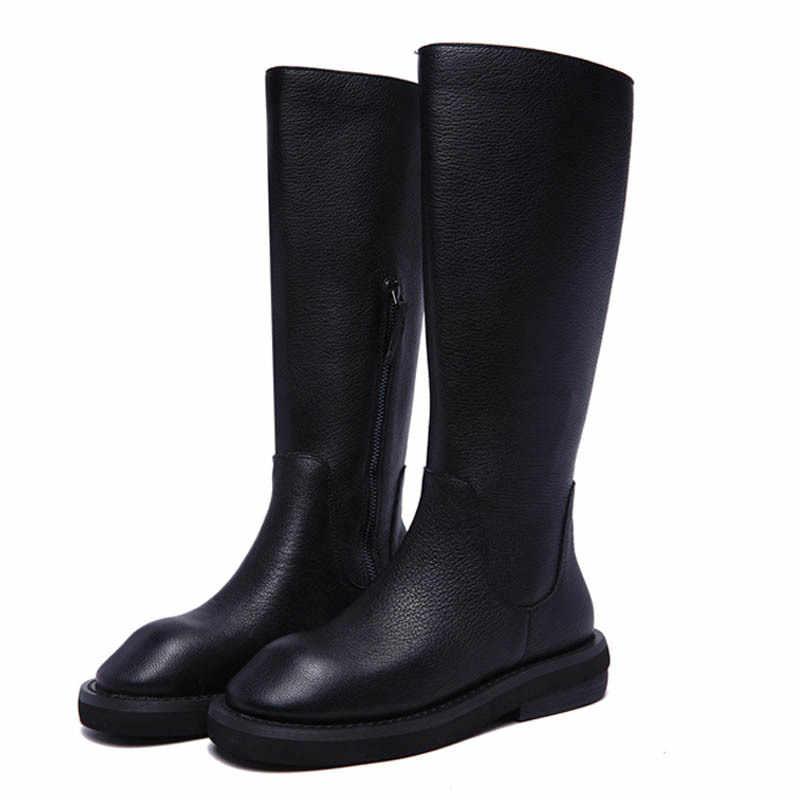 En kaliteli kadın kış polar astar diz yüksek kar botları yuvarlak ayak Med topuk motosiklet binici çizmeleri inek hakiki deri ayakkabı
