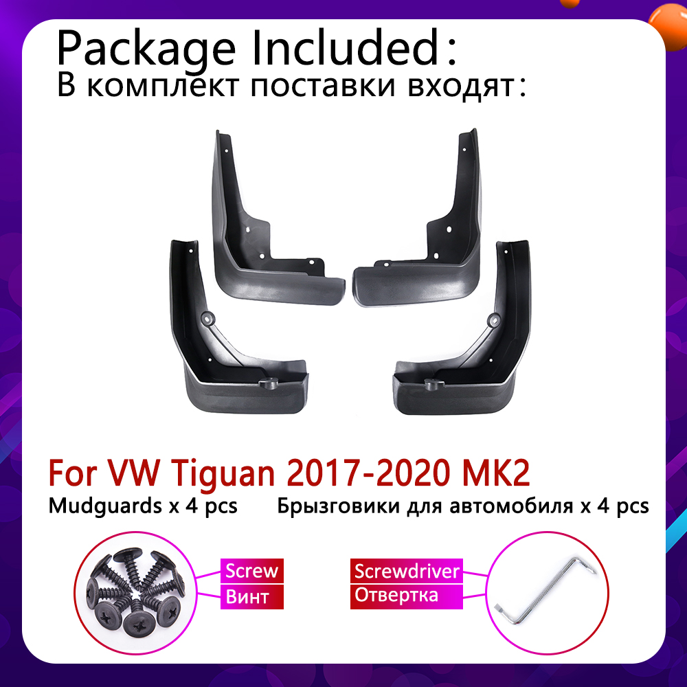Image 2 - 4 PCS Car Mudflaps For Volkswagen VW Tiguan 5N 2017 2018 2019 2020 MK2 Fender Mud Guard Flaps Splash Flap Mudguards Accessories-in Car Stickers from Automobiles & Motorcycles