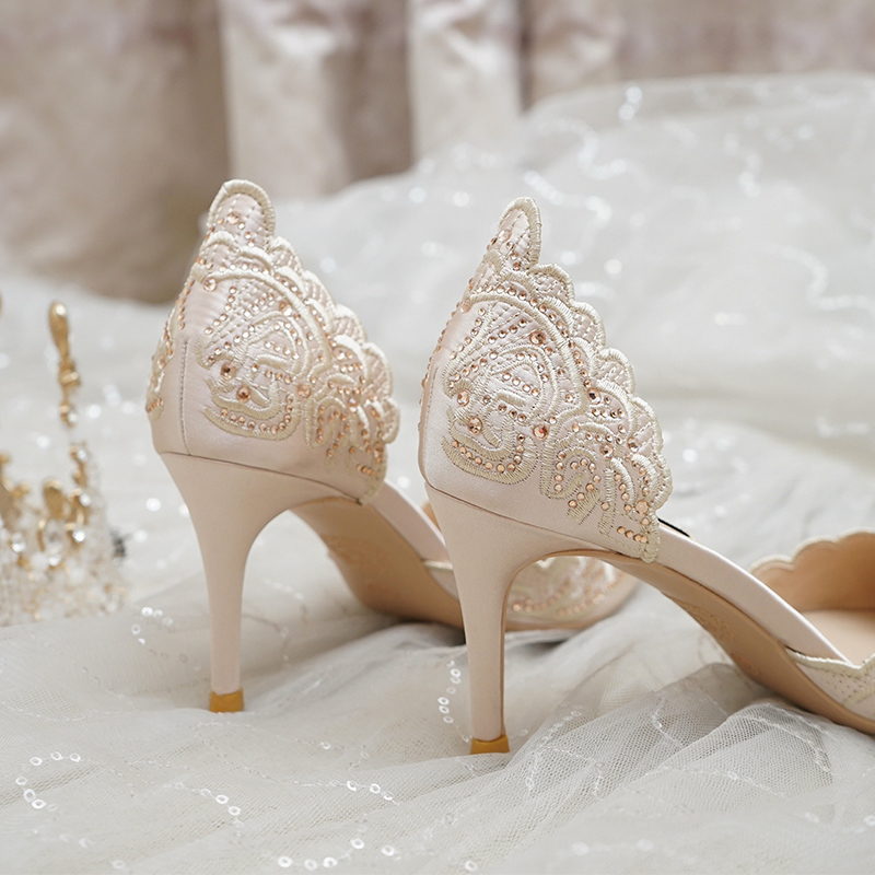 Wedding Shoes Women S 2020 New Bridal Shoes Champagne Can Usually Wear Hollow High Heels Thin Heeled Crystal Wedding Shoes Super Promo Fd7530 Cicig