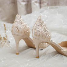Wedding-Shoes Heeled Champagne Women's Crystal Hollow Thin Can Usually-Wear New