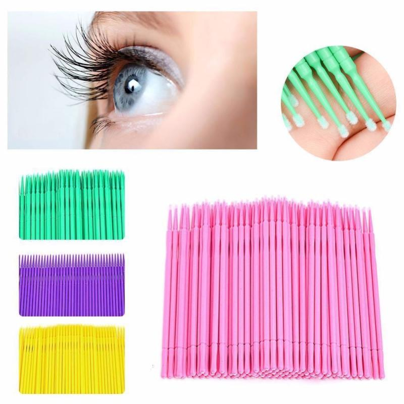 100pcs Disposable Colorful Cotton Swabs Eyelash Brushes Cleaning Swab Hot Natural Eyelashes Remover Dental Tattoo Microbrush Kit