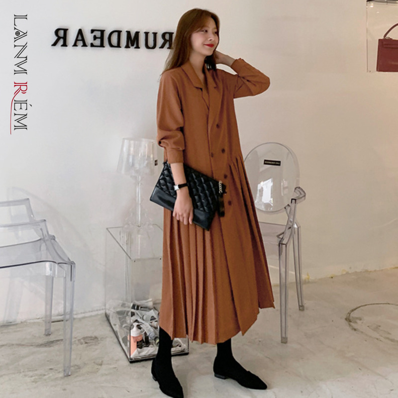 LANMREM 2020 New Spring Solid Color Suit Collar Mid-length Pleated Dress Women Vintage Slim Loose Splice Casual Dress Tide PD726