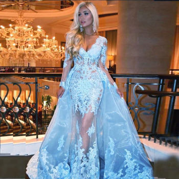 2020 Sexy Long Sleeves Prom Dresses Deep V Neck Appliques Lace Tulle Illusion Evening Formal Gown Elegant