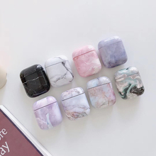 Luxury marble Hard PC Wireless Earphone Charging Cover Bag for Apple AirPods 1 2 High quality Glossy Bluetooth Box Headset case